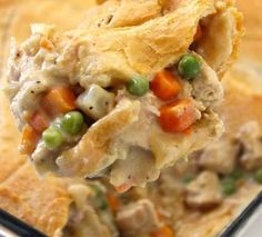 This yummy chicken pot pie casserole is made with crescent rolls in place of pie crust. These make a light, delicate and very tasty crust