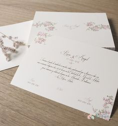 Invitación de boda Clásica y floral. papel premium de lino. Flor de Almendro.