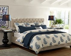 Cool blues in the bedroom.