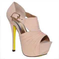 Amazon.com: Womens Qupid Pink Shirred Cut Out Peep Toe Platform Pump (Koy17): Shoes