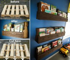 Shelves Pallet Pallet Shelf Ideas An Easy DIY With Video Tutorial - If you are looking for Pallet Shelf Ideas you are in the right place. We have put together a number of easy DIY's plus a video tutorial. Diy Pallet Projects, Pallet Ideas, Recycled Pallets, Wood Pallets, Pallet Wood, Unique Home Decor, Home Decor Items, Pallet Shelves Diy, Pallet Bathroom