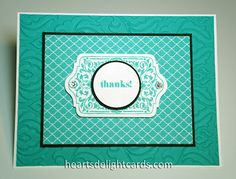 handmade notecard set from Heart's Delight Cards: A Big Batch of Thanks ... luv this same color combo: Bermuda Bay and black ...  a thin line from a black mat just make the colors pop ... Stampin' Up!