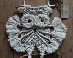 Items similar to Macrame Owl - Decoration for keys with keyring on Etsy Wooden Welcome Signs, Macrame Owl, Vintage Owl, Hanging Signs, Wooden Beads, Tree Branches, Burlap Wreath, Fall Decor, Etsy