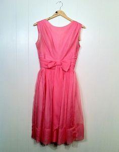 Pink 1950s chiffon dress