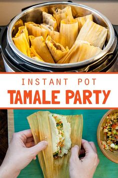 Your pressure cooker makes this traditional treat much faster and easier to prepare. Get your people together, pour some margaritas, have fun rolling up your favorite filli Best Pressure Cooker Recipes, Hip Pressure Cooking, Instant Pot Pressure Cooker, Authentic Mexican Recipes, Mexican Food Recipes, Mexican Desserts, Homemade Tamales, Pork Tamales, Tamale Recipe