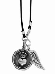 Necklace. Heart Coin Pendant with Wing on braided leather  #KING BABY STUDIO  #Necklace