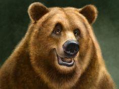 Patrick LaMontagne Stylized Canadian Animal Drawings Grizzly Bear ...