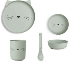 Bambus Geschirr-Set Katze Dusty Mint Liewood - Kleine Fabriek Mint, Plates, Tableware, Bamboo, Cats, Licence Plates, Dishes, Dinnerware, Griddles
