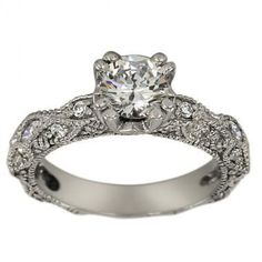 Antique Milgrain Engagement Setting With Marquise Accents. Beautiful vintage setting. Nice with a cushion cut diamond.
