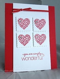 handmade Valentine ... four square of stamped hearts on blocks punched with postage stamp punch ... clean lines ... pretty ... Strampin' Up!