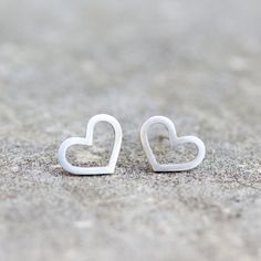 Simple stud earrings for every day use, minimalistic and romantic. Made of sterling silver. They are lightweight, approx. 10 mm (3/8).  The earrings