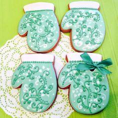 Купить Пряники новогодние Варежки Зеленая фантазия - пряники, ярко-зеленый, козули, челябинск