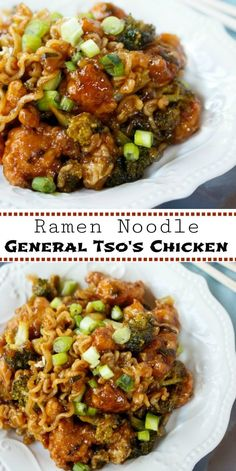Crispy chicken smothered in a thick and savory General Tsos Chicken sauce and tossed with broccoli and Ramen Noodles The Cozy Cook Asian Noodle Recipes, Ramen Recipes, Asian Recipes, Chicken Recipes, Cooking Recipes, Healthy Recipes, Ramen Noodle Recipes Chicken, Chicken Noodles, Broccoli Chicken
