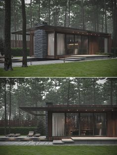 "homedesigning: "" Modern Single Story Forest House With Pool in Ukraine "" Modern Pool House, Modern Glass House, Modern Pools, Modern House Design, Modern Exterior, Exterior Design, Stone Exterior, Modern Architecture House, Architecture Design"