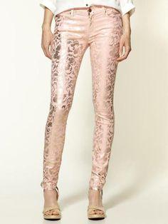 Metallic printed jeans