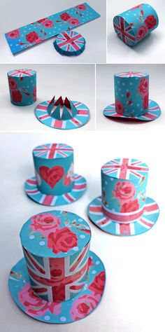 Cool Britannia part printables - mini top hat pattern with tutorial. No-sew!