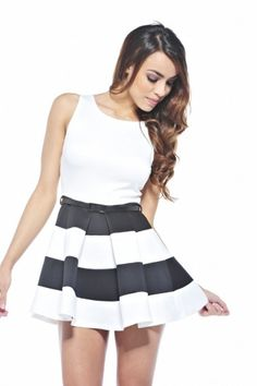 Amazing  Stripe Contrast Skater Dress :)