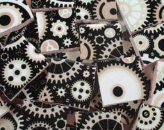 Ceramic Mosaic Tiles - Steampunk Gears Black White Grey Mosaic Tile Pieces - 40 Pieces - For Mosaic Art / Mixed Media Art/Jewelry