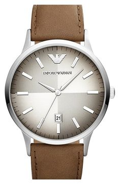Emporio Armani Round Dial Leather Strap Watch, 43mm