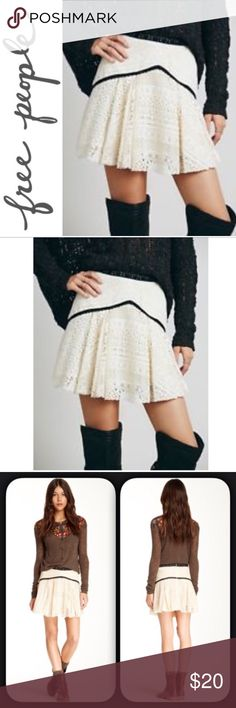 Free People Apple of My Eye Skirt ✔️Ivory Crochet Lace and Black Crochet Trim ✔️Lined ✔️Raw Edges ✔️59% Cotton/25% Nylon/15% Rayon/1% Polyester ✔️Back Zip ✔️Excellent Used Condition Free People Skirts