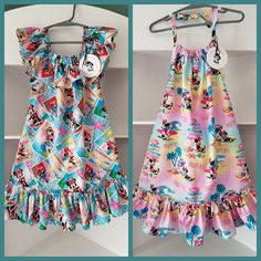 Girls Hawaiian Dress, Boys Hawaiian Shirt, Luau Outfits, Disney Outfits, Disney Clothes, Minnie Mouse Fabric, Island Style Clothing, Luau Dress, Hawaiian Print Fabric