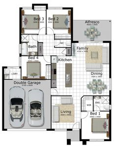 Small Room Design Bedroom, Double Garage, Small House Plans, Floor Plans, Florida, Australia, Construction, House Design, How To Plan