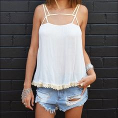Intimately Free People Summer Strap Cami Never been worn. Cute and flowy tank. It is slightly sheer, but it's nothing that can't be fixed with a nude bra. Very pretty lace detailing on the bottom. Free People Tops Camisoles