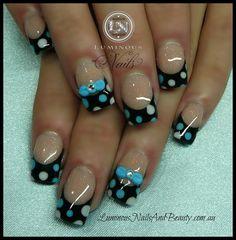 Blue & Lilac Polka Dots & Bows - Nail Art Gallery by NAILS Magazine