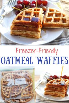 These tasty homemade waffles with the nutty goodness of whole grain oats are the perfect way to start the day! They're also a great freezer-friendly breakfast, so you can have a hearty, homemade waffle on-hand any day of the week! Homemade Oatmeal, Homemade Waffles, Homemade Baby Foods, Homemade Waffle Recipes, Homemade Breakfast, Churros, Tostadas, Breakfast Dessert, Breakfast Ideas