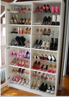 Armoire repurposed into shoe shelves