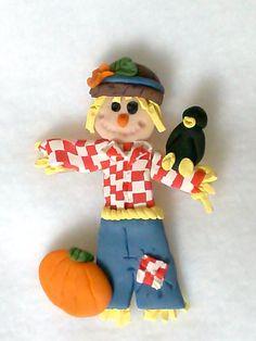 Scarecrow Polymer Clay Brooch, Fall Seasonal Jewelry, Sculpted Autumn Garden Pin, Orange Pumpkin, Black Crow, Straw, Jeans, Checkered Shirt