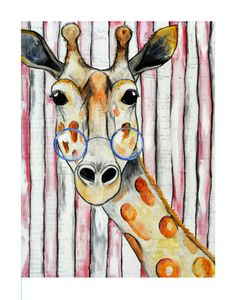 Ginger the Giraffe 14x11 print of my mixed by katiecrawfordart, $30.00