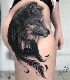 Sexy Tattoos, Body Art Tattoos, Girl Tattoos, Sleeve Tattoos, Native American Tattoos, Native Tattoos, Wolf Tattoo Design, Tattoo Designs, Wolf Tattoos For Women