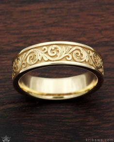Western Floral Wedding Band in yellow gold. This custom eternity style wedding band has our Western floral design. Handcrafted in your choice of precious metal just for you or your loved one! Unique Wedding Bands, Gold Wedding Rings, Wedding Rings For Women, Rings For Men, Gravure Metal, Golden Ring, Best Engagement Rings, Coin Ring, Engraved Rings