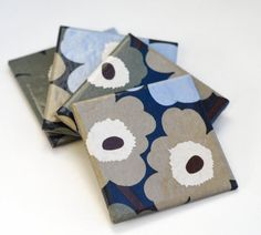 Marimekko coasters, Unikko in Dark Blue, Olive Green, Sky Blue and Beige, set of 4 on Etsy, $25.00