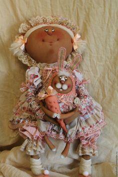 Купить Зайки мои!!! - кремовый, текстильная кукла, ароматизированная кукла, интерьерная кукла, зайка, ткань