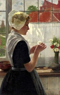 Daydreaming By The Window - Young Dutch Girl-Theodor Grust (1859 – 1919, German)
