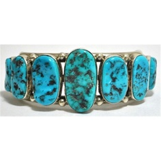 Old Pawn Sleeping Beauty Turquoise Sterling Silver Cuff Bracelet