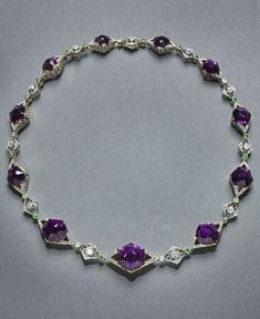 Necklace, 1895–1900. House of Fabergé (Russian, 1846–1920). Amethyst, Diamonds, Gold, Platinum, demantoid Garnets. Collection of Neil Lane, Photo: Howard Agriesti, The Cleveland Museum of Art.
