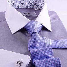Grey Floral Dress, Floral Shirt Dress, Dress Shirts, Formal Shirts For Men, Create Shirts, Business Shirts, Contrast Collar, Collar And Cuff, Business Fashion