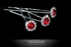 Bridal Hair Pin Crystal Hair Pin Red Rhinestone by BelovedSparkles