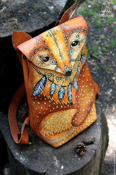 Купить Рюкзак из натуральной кожи - рыжий, рисунок, натуральная кожа, ручная работа
