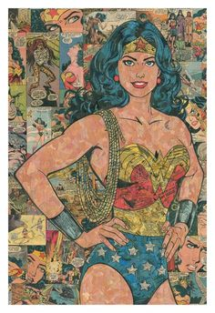 Wonder Woman Comic Collage - giclee print by ComicReliefOriginals on Etsy