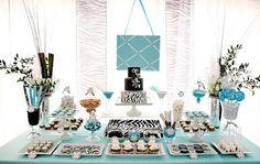 Dessert Bar. Tiffany Theme, Tiffany Party, Azul Tiffany, Tiffany Wedding, Teen Birthday, Birthday Parties, Zebra Birthday, Birthday Ideas, Birthday Cakes