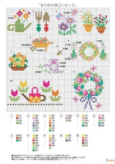 EMBROIDERY – CROSS-STITCH / BORDERIE / BORDUURWERK - FLOWER / FLEUR / BLOEM - for inspiration