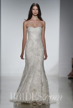 "Brides.com: Christos - Spring 2014. ""Michaela"" fit to flare tulle gown with floral hand embroidery and hand beaded crystal detail, Christos"