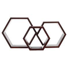 Hex Wall Shelf Set Of 3 Walnut by Fab | Fab.com ($49.00) - Svpply