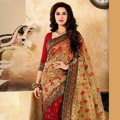 Beige and Red Net and Jute Cotton Silk Saree with Blouse