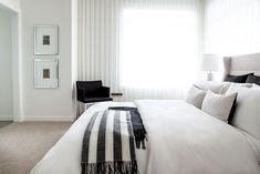 A stylish master retreat by professional interior designer, Natalie Fuglestveit Interior Design Master Bedrooms, Modern Bedroom, Custom Bedding, Ensuite Bathrooms, How To Make Pillows, Window Wall, Drapery, Interior Design, Stylish