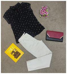 E uma produção arrumadinha? Às vezes faz falta, não é mesmo? Nossa sugestão: calça mini poás, que veste super bem, uma blusa com estampa delicadíssima de tsuru e carteira de mão! ❤️❤️